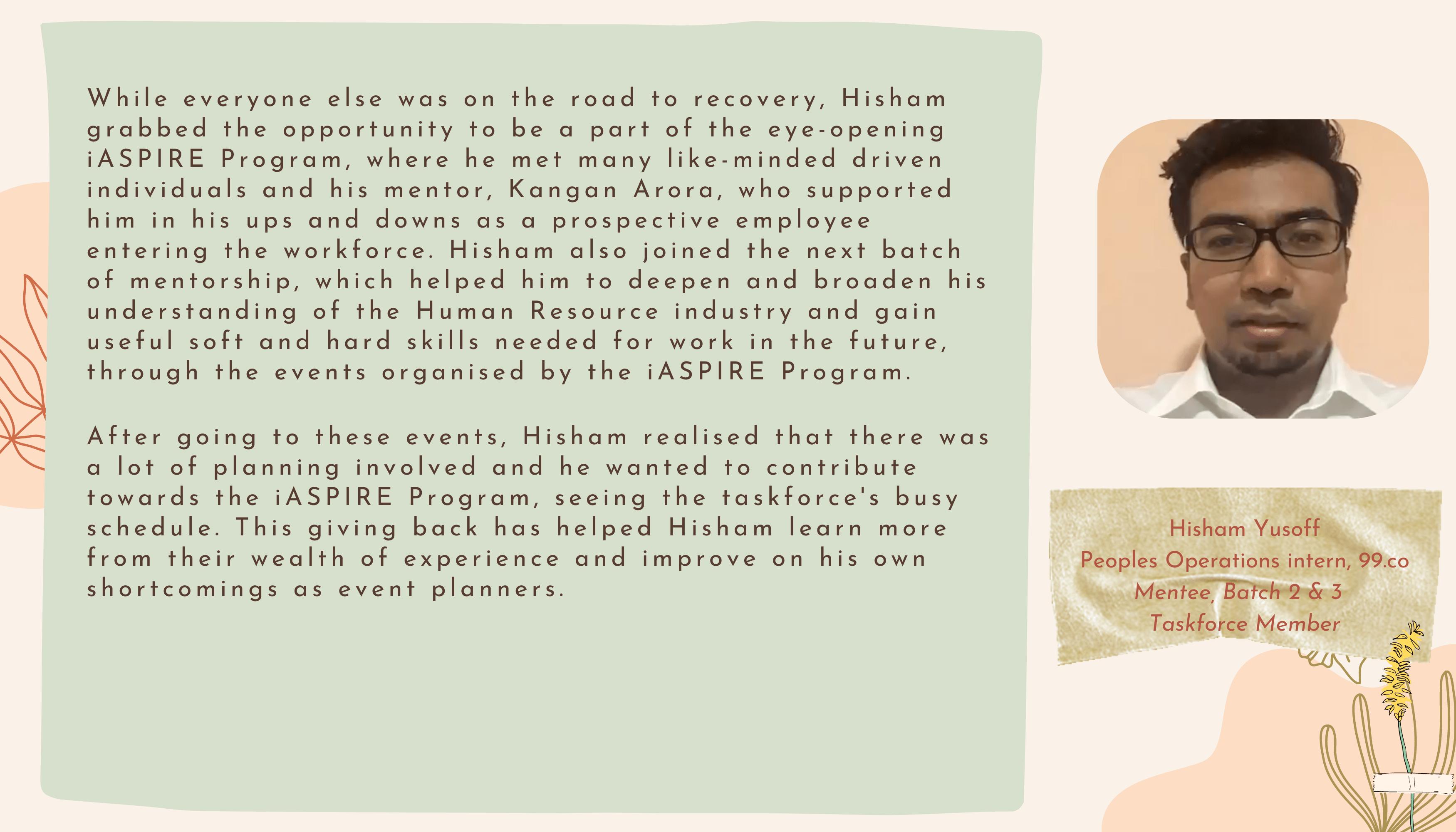 iASPIRE STORIES HISHAM